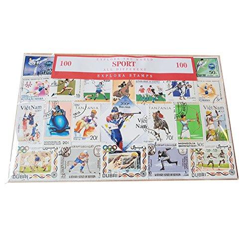 Collezione di francobolli sportivi differenti - 100 diversi francobolli/Sport invernali ed estivi/Souvenir da collezione provenienti da tutto il mondo/Tutti distinti