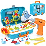 LIHAO 400Pcs 3D Electric Drill Toy Set Constructional Building Toy with Electric Drill Screwdriver Peg Board Mosaic Toy Educational Toys for Children Kids Boys & Girls