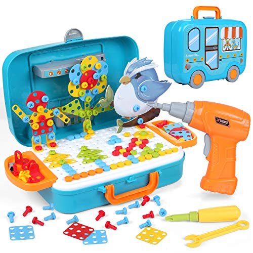 LIHAO 400Pcs 3D Electric Drill Toy Set 2D 3D Model Blocks Mosaic Toys Constructional Building Toy with Electric Drill Screwdriver Peg Board Mosaic Toy Educational Toys for Children Kids