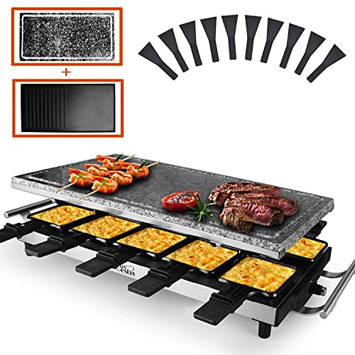 Artestia raclette table grill,1500W indoor raclette grill,10 Paddles Korean BBQ Grill,electric indoor grill with raclette stone and Non-Stick Reversible Aluminum Plate for Parties and Family