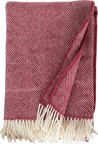 Plaids & Co Lange Fischgrat Wolldecke aus 100% neuseeländischer Schurwolle Ökotex 100 (130 x 220 cm, dunkelrot)