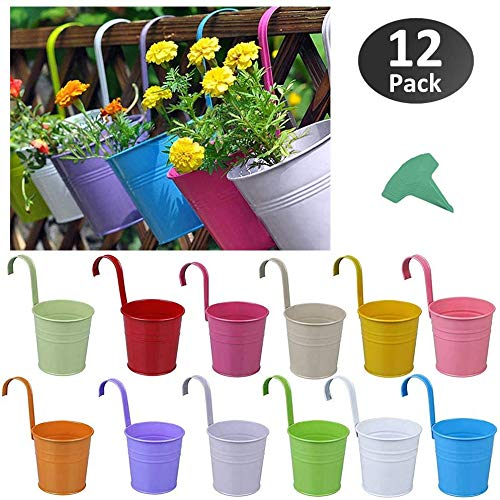 12 Packs Kleurrijke metalen opknoping bloempotten met afneembare haak voor ramen muur hek balkon tuin 4 inch binnen/buiten opknoping Planter