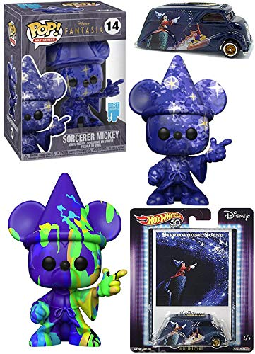 Star Artist Fantasia Mickey Mouse Sorcerer Bundled with Anniversary Artist's Series Protective Case Drip Paint HW Deco Delivery Premium Car 3 Items