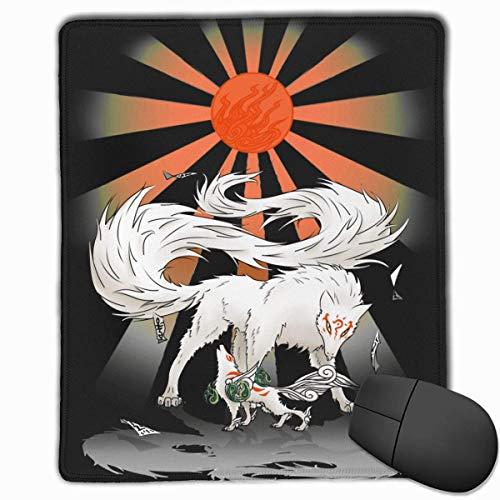 Ultimative Gottheiten Okami Amaterasu und Madara Rutschfeste Gummi-Mauspad-Gaming-Mauspad mit genähter Kante 10x12 Zoll