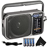 Panasonic Portable Radio AM/FM Battery Powered Electric with LED Tuning Indicator | 5 Core Radio, Best Sound and Reception, Small Size, Plug Option | Includes 4 AA Batteries and Cleaning Cloth