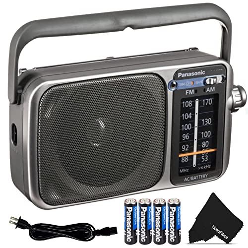 Panasonic Portable Radio AM/FM Battery Powered Electric with LED Tuning Indicator   5 Core Radio, Best Sound and Reception, Small Size, Plug Option   Includes 4 AA Batteries and Cleaning Cloth