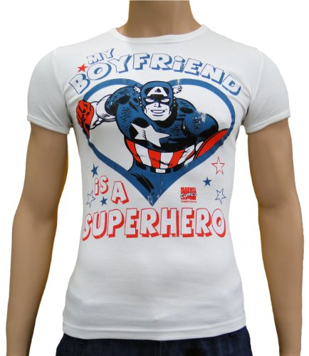 My Boyfriend is a... Vintage Slim T-shirt avec logo Blanc Taille M