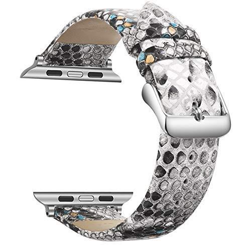 KTZAJO 2021 La última correa de cuero para Apple Watch Band 42 mm 38 mm Series 1 2 3 4 5 pulsera para iWatch 40 mm 44 mm Correa deportiva – azul – 42 o 44 mm (color: azul, tamaño: 38 o 40 mm)