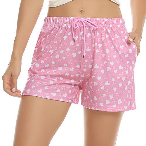 Hawiton Bas de Pyjama Femme Court Short de Nuit Imprimé Pantalon de Maison en Coton Confortable,Imprimé Coeur Rose,XL