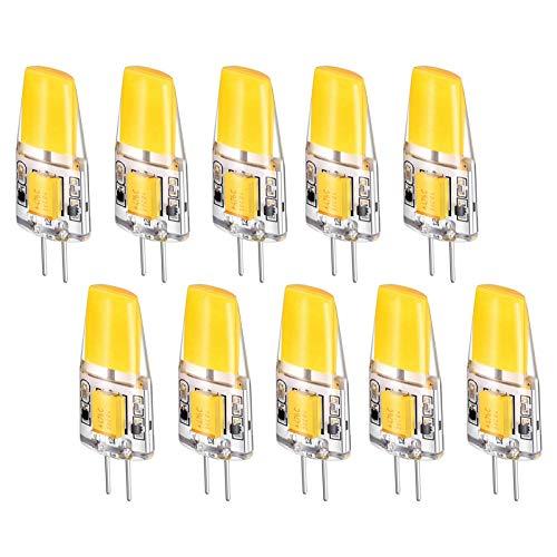 SHKUU Bombillas LED G4 3 W, 12 V CC, Equivalente a 30 W Lámparas halógenas, Paquete 10, 360 °; Lámpara cerámica ahorradora energía Regulable con ángulo Haz, Base Dos Clavijas