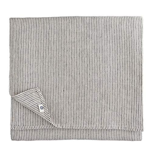 Linen & Cotton Luxus Streifen Tischdecke Stoff Landhausstil Vintage Shabby Bjorn - 100% Leinen, Schwarz/Beige/Natur (153 x 250 cm) Lang Tischtuch Tischwäsche für Haus/Home Küche Dekoration Esstisch