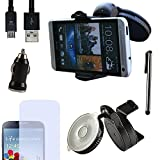 Eximmobile PREMIUM - Universal KFZ Halterung mit USB Ladekabel + Ladegerät + Folie + Stylus Pen für HTC Desire 816 als Navigation im Auto