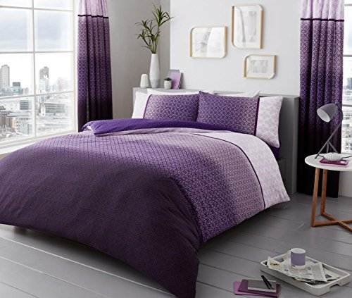 SELECT-ED Luxuries URBAN-OMBRE Printed Poly Cotton Duvet Cover with Pillowcase Bedding Set (Purple, King Size)