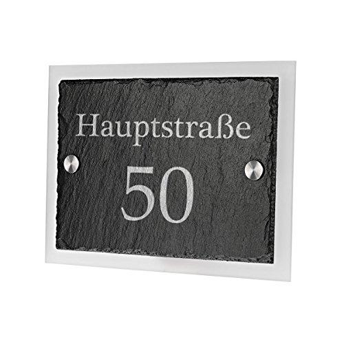 Ardoise plaque de porte avec verre acrylique avec gravure personnalisée motif Basic Route Nom avec votre numéro de maison