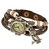 Taffstyle Damen-Armbanduhr Analog Quarz mit Leder-Armband Geflochten Charms Anhänger Uhr Retro Vintage Eule Gold Braun