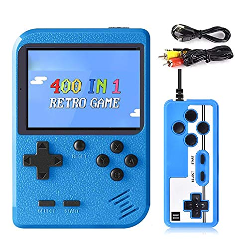 Hanbee Consola de Juegos Portátil, 400 Juegos Retro 3 Pulgadas Pantalla a Color Soporte para Jugadores Duales y Conexión de TV, Recargable Game Player ,Presente para niños y Adultos,Azul
