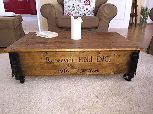Uncle Joe´s Couchtisch Roosevelt Truhentisch Truhe im Vintage Shabby chic Style aus Massiv-Holz in braun mit Stauraum und Deckel Holzkiste Beistelltisch Landhaus Wohnzimmertisch Holztisch nussbaum