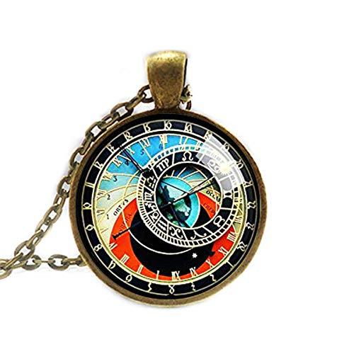 Collar de reloj astronómico, collar de reloj de Praga, colgante de reloj de Praga, collar Steampunk, Quirky Clockwork