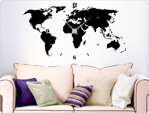 dekodino Wandtattoo-Uhr Weltkarte