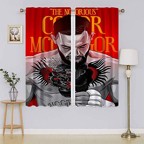 Santiago Athletes Conor Mcgregor Wide Blackout Curtains,Thermal Insulated Window Panels Energy Efficient Curtain for Bedroom/Living Room W63' x L63'