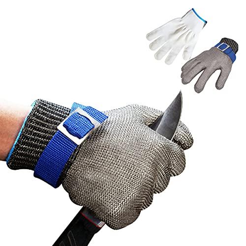 Guantes Anticorte, guantes de cocina,Nivel 5 Guante Carnicero Malla Acero Protección Guante de Trabajo de Seguridad Guante Guante de Metal Guante de Acero Inoxidable Guantes Anti-corte (XL)