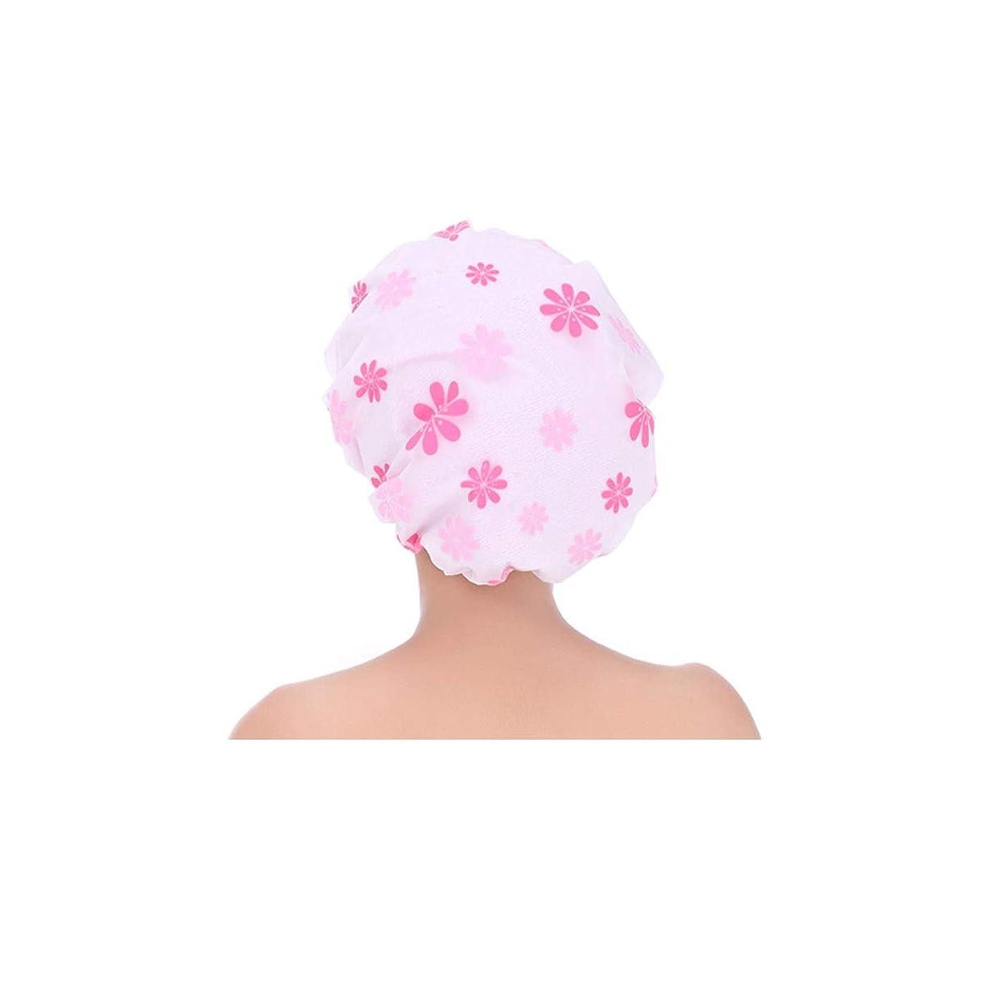 使役ほかにひどいHUIJUNWENTI シャワーキャップ、シャワーキャップ防水シャワーキャップ、成人女性のシャワーキャップ、スリーインワン拡大シャワーキャップ、二層オイルキャップ、ヘアマスクシャワーキャップ ブルー、ピンク、 (Color : Pink)