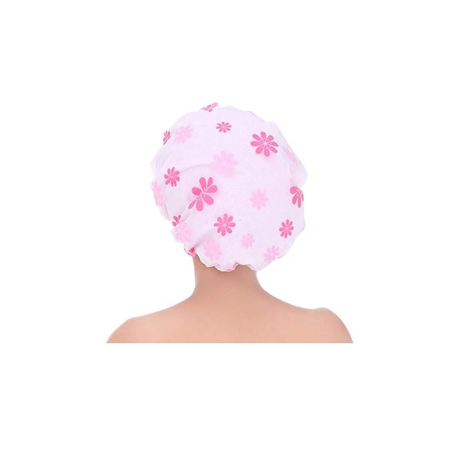 ずんぐりした水族館ボウリングHUIJUNWENTI シャワーキャップ、シャワーキャップ防水シャワーキャップ、成人女性のシャワーキャップ、スリーインワン拡大シャワーキャップ、二層オイルキャップ、ヘアマスクシャワーキャップ ブルー、ピンク、 (Color : Pink)