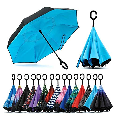 Moksharth Inverted Windproof Upside Down Umbrellas with C-Shaped Handle for Women and Men - Double Layer Inside Out Folding Umbrella