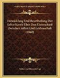 Entwicklung Und Beurtheilung Der Lehre Kant's Uber Den Unter