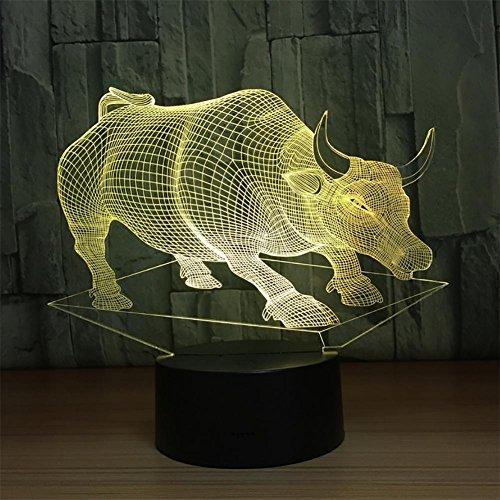 baby Q LED 3D Lampe, Lumières visuelles tactiles de Couleur du bétail 7, Lampe de Tableau de Gradient Acrylique, lumière d'alimentation d'USB