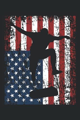 Skateboarder Skater Skateboard Amerika Fahne Geschenk Notizbuch (Taschenbuch DIN A 5 Format Liniert): Skateboard Geschenk Notizheft, Schreibheft, ... für Fans von Skatern und Skate Wettbewerben.