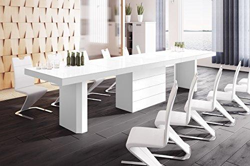 Design Konferenztisch Tisch HE-444 Weiß Hochglanz XXL ausziehbar 160 bis 412 cm