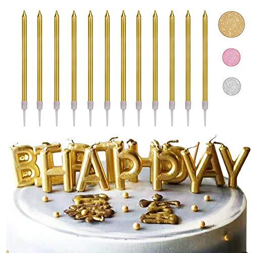Set di candele per torta di compleanno, confezione da 10 candele lunghe e sottili e 1 candela dell'alfabeto di buon compleanno, candele per decorazioni per torte di nozze (D'oro)