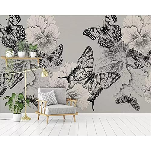 Material de seda papel tapiz 3D pintado a mano blanco y negro flor de mariposa TV fondo pared papel tapiz 3D 250X175cm