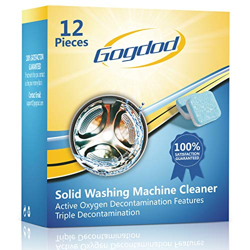 Gogdod Washing Machine Cleaner Effervescent Tablets, Solid Washer Deep Cleaning Tablet, Triple Decontamination Remover for Front and Top Load Washers,...