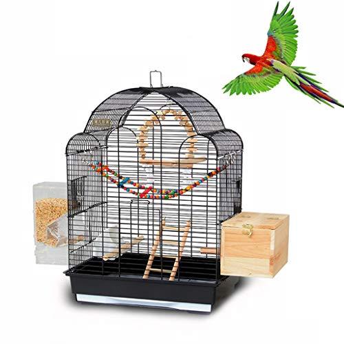 Käfige & Laufställe Hundehütten Großer Vogelkäfig Vogelkäfig des Europäischen Designs Papageienkäfig Villa Starling Käfig Großer Pfingstrosenzuchtkäfig (Color : Black, Size : 43 * 30.5 * 57.5cm)