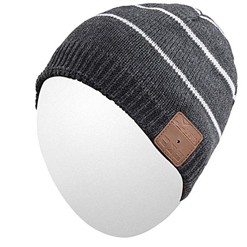 Qshell Rechargeable Wireless Bluetooth Music Beanie Trendy Short Striped Hat Cap with Stereo Headphone Headset Earphone Speakerphone for Outdoor Sports Skating Hiking Camping, Black
