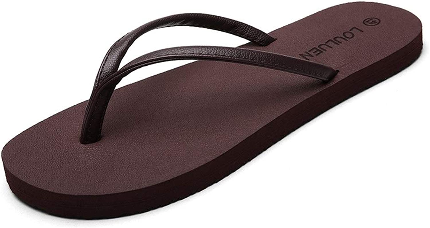 Arch Support Lightweight Shower Slippers Beach shoes PU Leather Upper Non-Slip Comfortable Lightweight Flip Flops Compatible Men Thong Sandals (color   Brown, Size   6.5 UK)