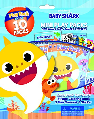 Bendon Baby Shark 10-Pack Mini Play Packs Each with Mini Coloring Book, 2 Mini Crayons, and a Sticker 47222