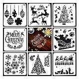 Hillento 8 piezas plantillas de Navidad plantilla de pintura artesanal plantillas de dibujo de bricolaje para vacaciones de Navidad dibujo suministros de decoración de arte (6x6 pulgadas)