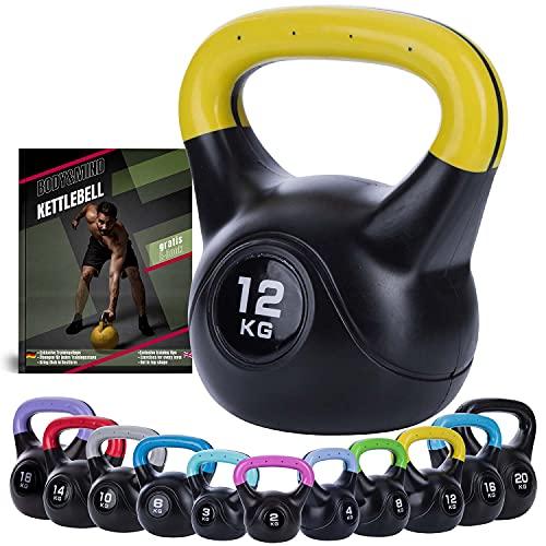 Body & Mind® Kettlebell Kugelhantel 2-20 kg - Workout Gewicht-Hantel für Kraft-Training - Profi Fitness Schwunghantel aus Kunststoff (g - 12 kg)