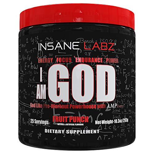 Insane Labz I am God Pre Workout, High Stim Pre Workout Powder Loaded with Creatine and DMAE Bitartrate Fueled by AMPiberry, Energy Focus Endurance Muscle Growth,25 Srvgs, Fruit Punch