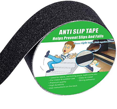 Anti Slip Tape, High Traction,Strong Grip Abrasive, Not Easy Leaving Adhesive Residue, Indoor & Outdoor, with Measuring Tape (50MM Width x 5M Long, Black)