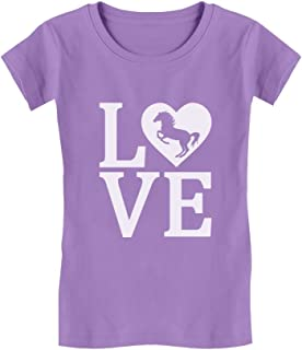 Tstars - Love Horses Gift for Horse Lover Girls' Fitted Kids T-Shirt