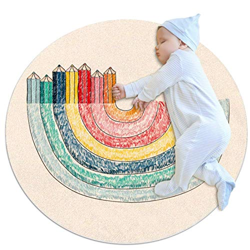 Carpet Rainbow Pen Nursery Round Rug for Kids Room Soft and Smooth Suede Surface Non-Slip Castle Tent Game mat Best Gift for Your Kids 2feet 3.5inch