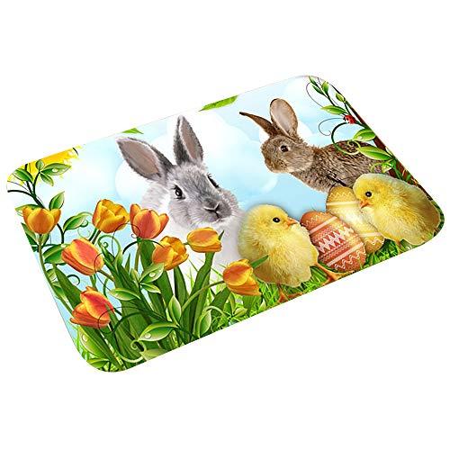 Dihope - Felpudo de Pascua de conejo, alfombra de bienvenida, antideslizante, alfombra de baño, decoración para casa, cocina (9,40 x 60 cm)