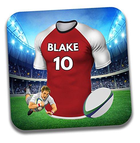 Personalisiertes Geschenk–Rugby-Shirt Mottoparty Getränke Untersetzer/Bierdeckel–Geburtstagsgeschenk–Strumpffüller–Die sunwolves Farben