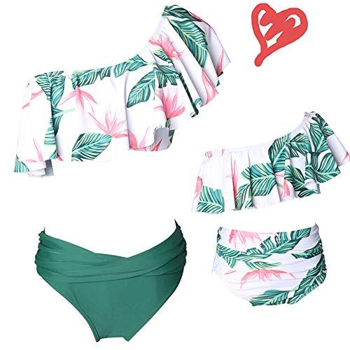 One-Shoulder Floral Ruffle Girl Swimwear Family Bathing Suit 2 Piece Flounce Swimsuit Top High Waist Beachwear Bottom for Girl (Green, Girl 5-6 T)