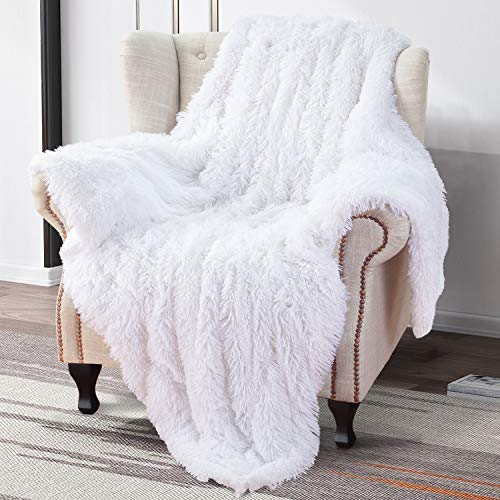 Softlife Home Decorative Fluffy Faux Fur Throw Blanket 50' x 60', Reversible Fuzzy Warm Sherpa Blankets for Couch Sofa Bed Throw Size (White)