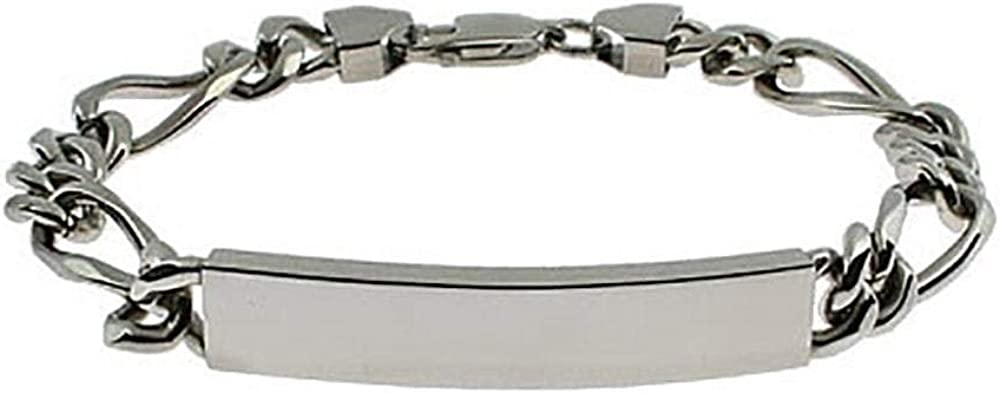 EVE'S ADDICTION Stainless Steel Figaro Link ID Bracelet - Same day Elegant shipping Cleara